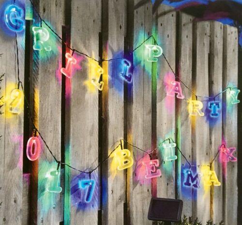 Buchstaben und Zahlen  Solarlichterkette Solarleuchte Lichterkette 190 cm