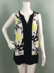 NWT Women's Vince Camuto Blk/Yellow Floral Sleeveless Blouse Top Sz M Medium