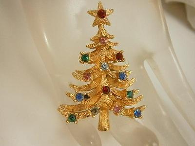 Gorgeous Vintage 1950s Signed MYLU Colorful Rhinestone Holiday Tree Brooch 126JL