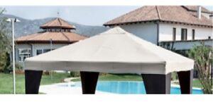 Telo tetto ricambio per gazebo 3x3 antistrappo beige top copertura