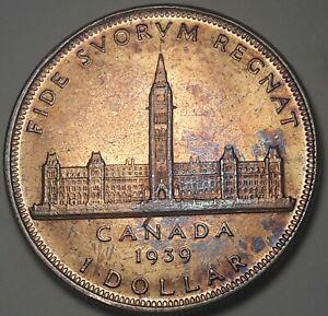 1939-CANADA-1-ONE-DOLLAR-SILVER-BU-GEM-TONED-BEAUTIFUL-UNC-COLOR-DR