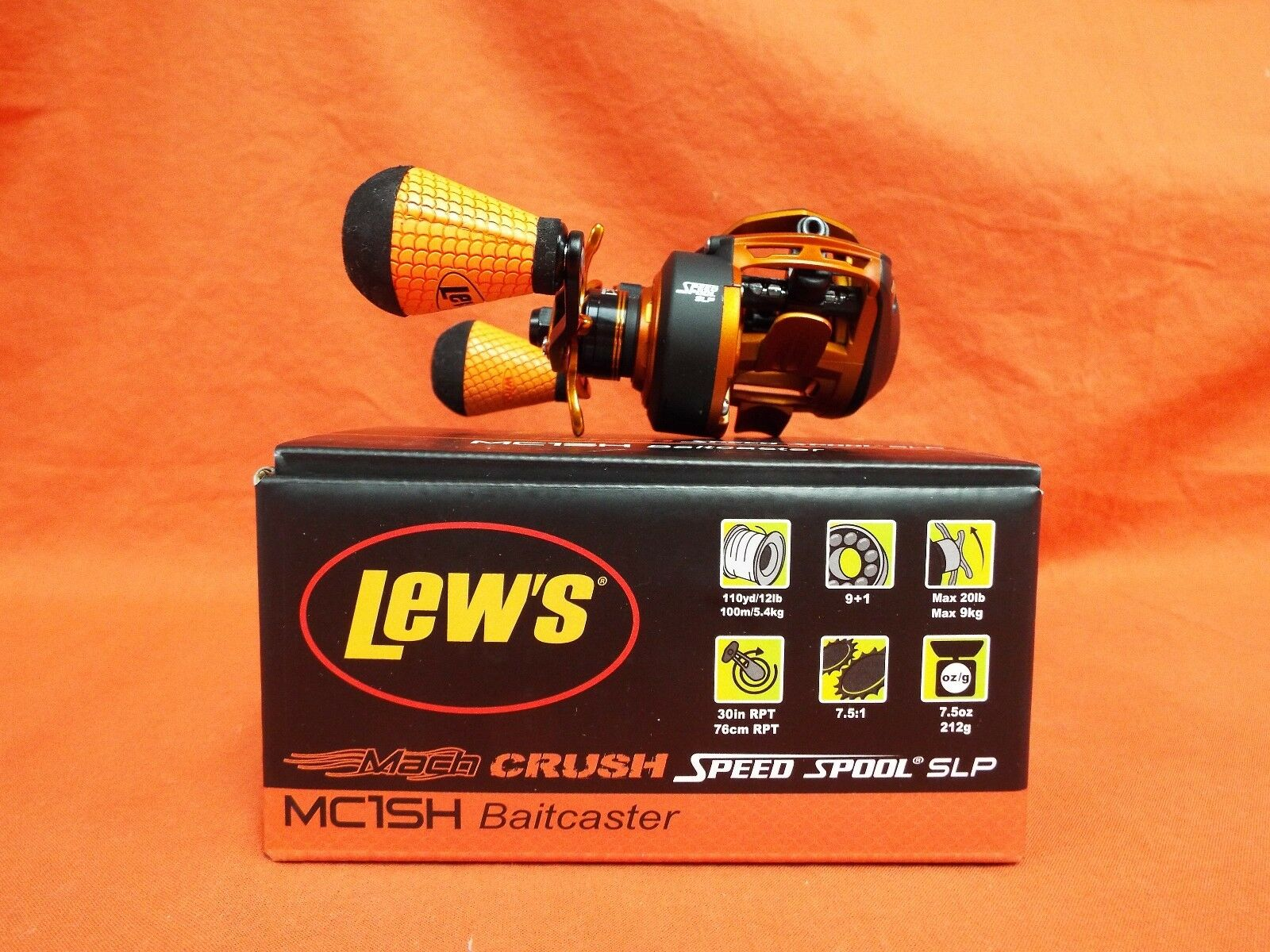 LEW'S Mach Crush Speed Spool SPL Series Baitcast Reel Gear Ratio 7.5 1  MC1SH