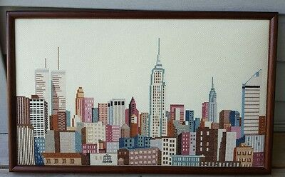 New York NYC Skyline Twin Towers Cross Stitch Picture Rita Klein Framed Finished