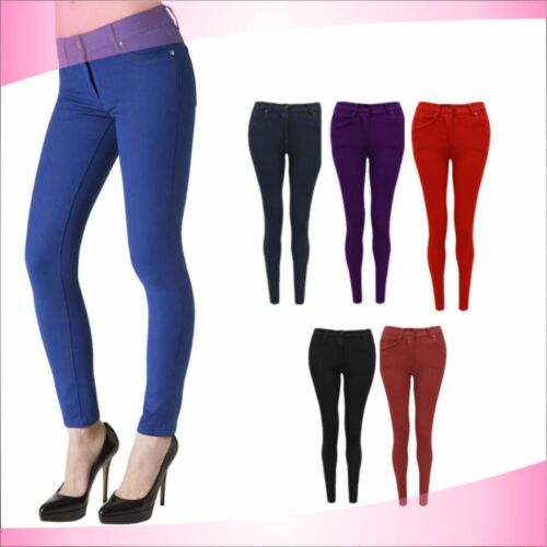 NEW LADIES SKINNY FIT COLOURED STRETCHY JEANS WOMENS JEGGINGS TROUSERS SIZE 8-16