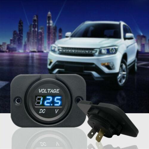 For Car Motorcycle Blue flat LED Digital Display Voltmeter Waterproof DC 12V/24V
