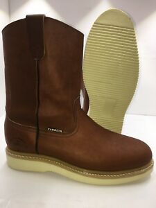 Women-039-s-Work-Boots-light-Weight-Pull-On-Leather-Brown-oil-slip-resistant-Sz-5-10