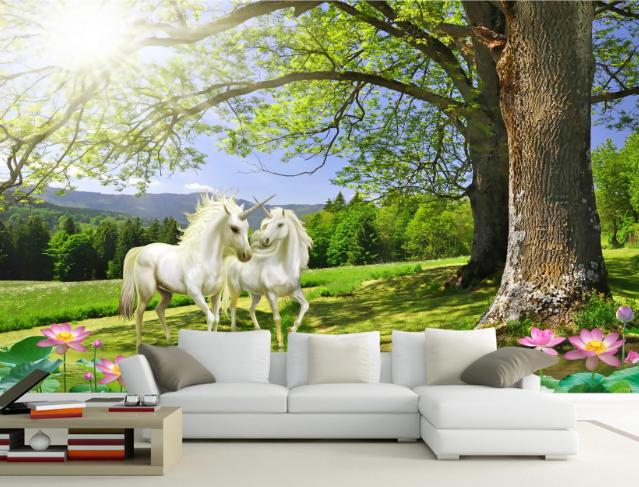 3D Sun Horses Trees 73 Wall Paper Murals Wall Print Wall Wallpaper Mural AU Kyra