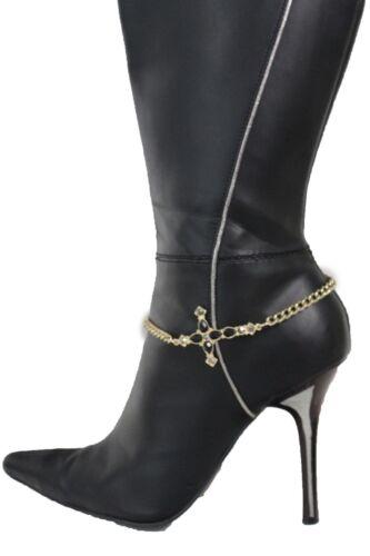 Women Boot Bracelet Gold Metal Chains Bling Anklet Shoe Charm Cross Black Beads