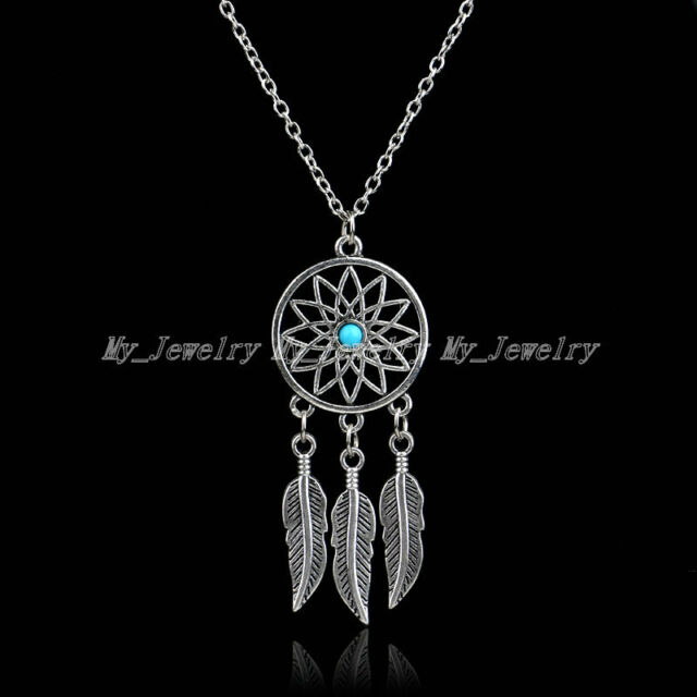 Vintage Necklace Dream Catcher Charm Tibetan Silver Feather Bead Pendant Women