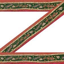 Vintage Sari Border Antique Hand Beaded 1 YD Indian Trim Ribbon Pink Decor Lace