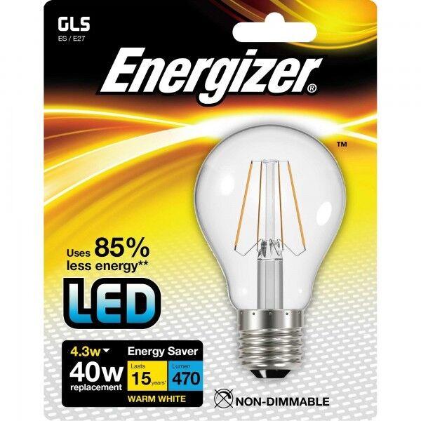 Energizer 4.3w (=40w) LED Clear GLS Filament Bulb, Extra Warm White (2700k) ES