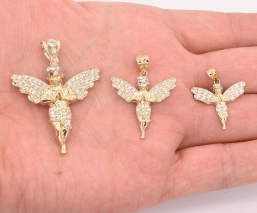 Cubic Zirconia CZ Angel Charm Pendant Real Solid 10K Yellow Gold Guardian SIZES