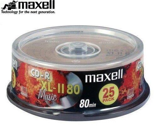 Maxell Cd-R XL-II 80min Audio Numérique Enregistrable Musique CD Disques Pack 25