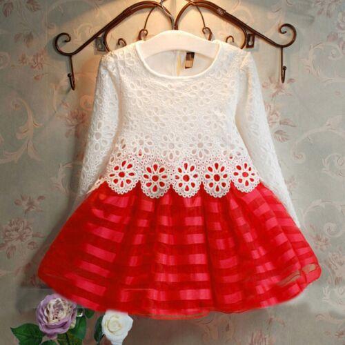 Flower Girls Kids Clothes Long Sleeve Crochet Lace Princess Party Tutu Dresses