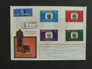 DéSintéRessé Fdc Rhodésie-zimbabwe 10. Octobre 1973 Apparence Brillante Et Translucide