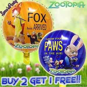 6PC Disney ZOOTOPIA 18 Mylar BALLOON Zoo Birthday Party Supplies Decorations