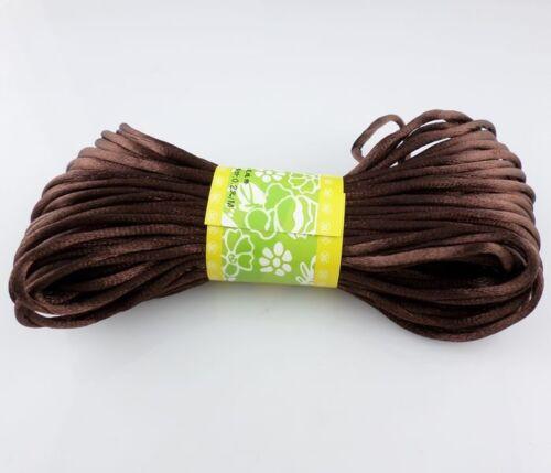 20 m Chinois Noeud en satin de nylon tressé cordon Macrame Perles Rattail Cordes 3 mm