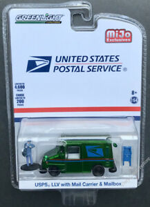 1//64 Greenlight USPS LLV with Mail Carrier /& Mailbox US Postal Service 51280
