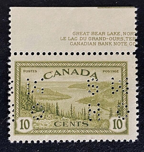 Canadian Stamp, Scott O269 10c OHMS 1946 Peace Issue, Great Bear Lake VF M/LH