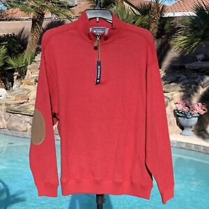 $110 CREMIEUX 2XB RED & GRAY REVERSIBLE SUEDE ELBOW 1/4 ZIP MENS SWEATER NWT