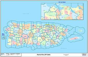 Puerto Rico Zip Code Map Puerto Rico Zipcode Laminated Wall Map | eBay