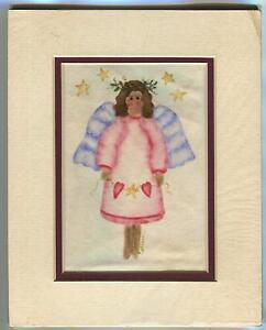 GENUINE THEOREM FOLK ART CHRISTMAS PINK ANGEL STARS VELVET OIL OOAK ART PAINTING
