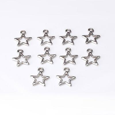 10pcs Tibetan Silver Star Charms Pagan/Celtic