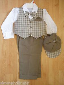 Baby Toddler Ivory Boys Suit Set Eton Shorts Wedding Easter Formal Party G828
