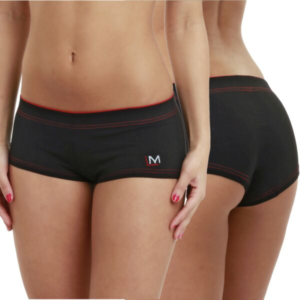 LisaModa Damen Panties 4er Pack Hipster Panty Schwarz Weiß Mix Baumwolle Pants