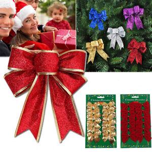 ALBERO-di-Natale-Fiocco-Decorazione-Palline-Natale-Festa-Decorazione-Giardino-Fiocchi-3-COLORI