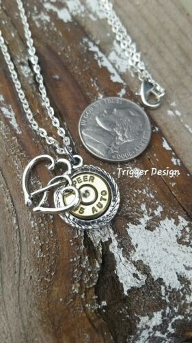 Crystal 45ACP Bullet Hand Crafted Necklace with Double Heart Charm
