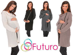Womens Maternity Chunky Cardigan With Zip Long Sweatshirt Cape Sizes 8-14 MV151