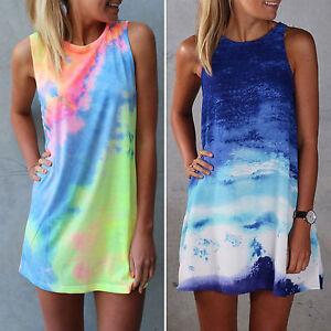 Womens tie dye short mini dress sleeveless shift shirts for Tie dye sleeveless shirts