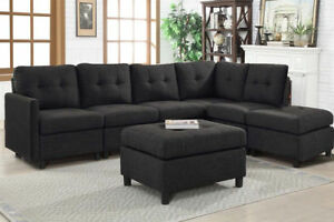 Contemporary 7pcs Black Sectional Sofa Microsuede Reversible Chaise ...