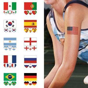 Coupe du monde Fan Supply 32 Drapeau national Autocollant de tatouage temporair