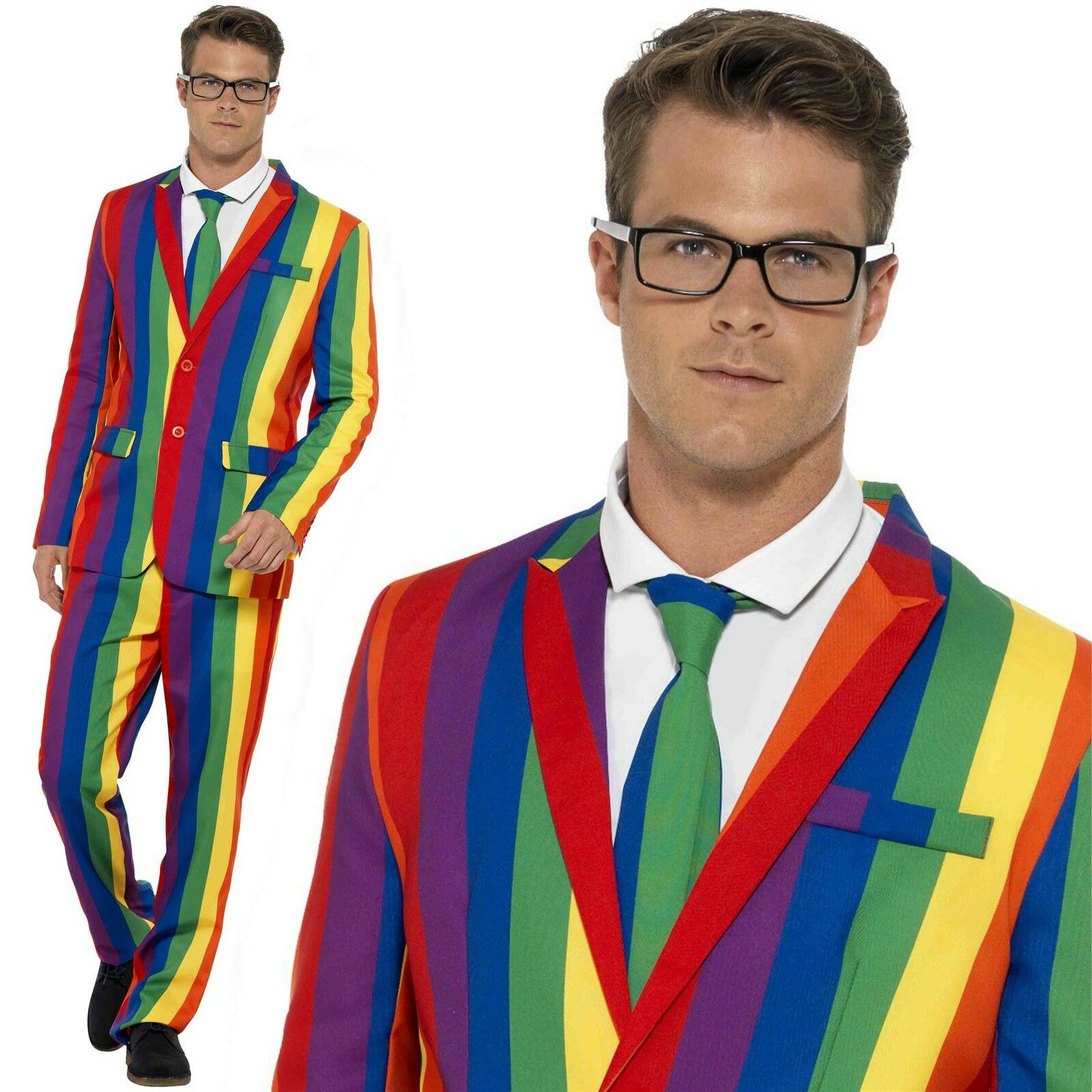 Mens Stand Out Suits Stag Do Party Rainbow Gay Pride Pride Pride Comedy Fancy Dress Costume | Berühmter Laden