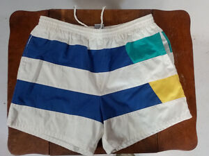 e8104c748b Vintage 80s Catalina Mens Swim Trunks Board Shorts Color Block Retro ...