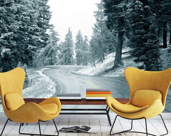 3D highway Snow tree 23 Wall Paper wall Print Decal Wall Deco Indoor wall Mural