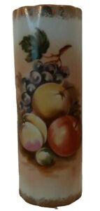 "Beautiful Norleans Japan Hand Painted Fruit Floral Gold Trimmed Vase 8"" Bud Vase"