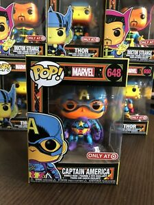 ✅ ✅Funko POP Captain America Black Light #648 ✅✅Target Exclusive✅Fast Shipping✅✅
