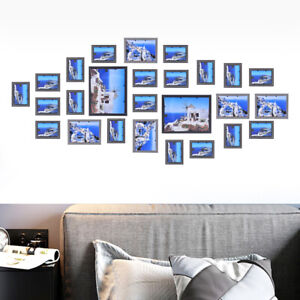 Home Wedding Decor Wall Hang Wood Gallery Collage Picture Frames Set 26pcs Sale Ebay