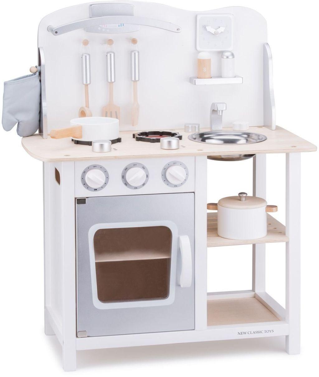 New Classic Toys 11053 - Küche mit Zubehör Spielküche aus Holz Weiss Silber