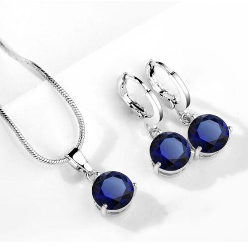 Blue cubic Zircon Hipoalergénico Cobre Collar//Pendientes Joyería conjuntos