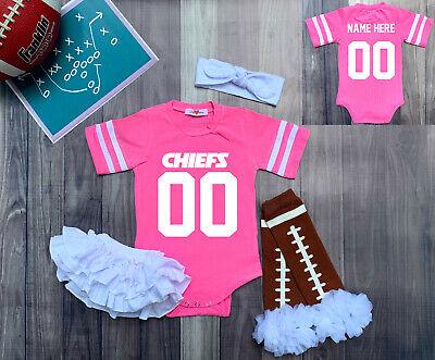 Kansas City Chiefs Personalized Girls Custom Jersey Bodysuit Shirt Set Outfit