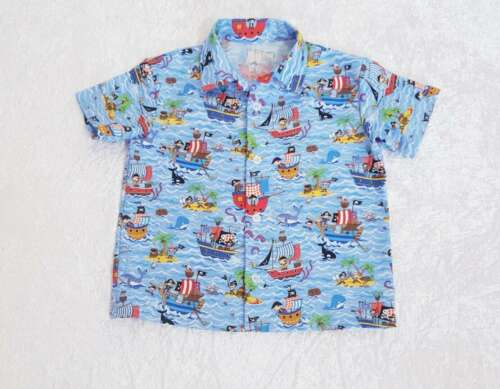 Boys Short Sleeve Shirt with Buttons Pirate Pattern Handmade Sizes 1-12 years