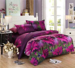 3D Duvet Cover Pillowcase Quilt Cover Beding Set Single Queen King Purple Daisy