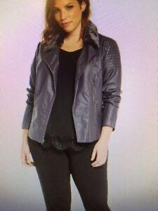 066d8a26717 Torrid Lace-up Back Faux Fur Collar Moto Jacket - plus size 2 - 2X ...
