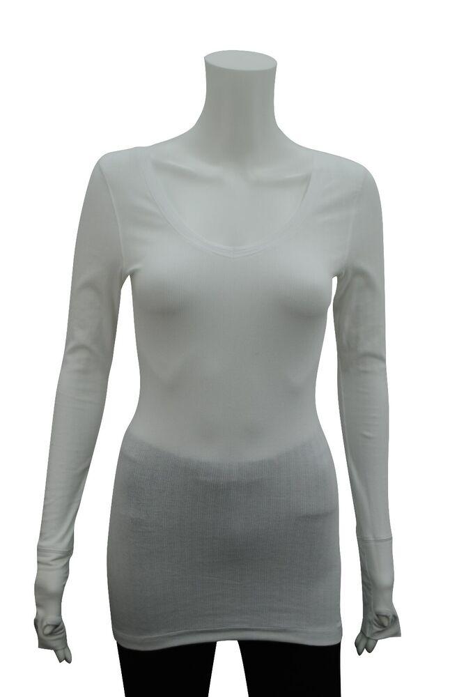 Femme Col V T-shirt Top Manche Longue Pouce Trou Blanc Taille 6 - 24 Neuf