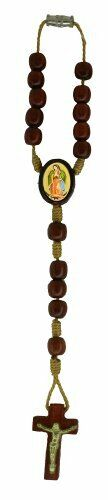 Our Lady of Guadalupe Rearview Mirror Auto Car Rosary, Cherry Wood Beads, 7 Inch
