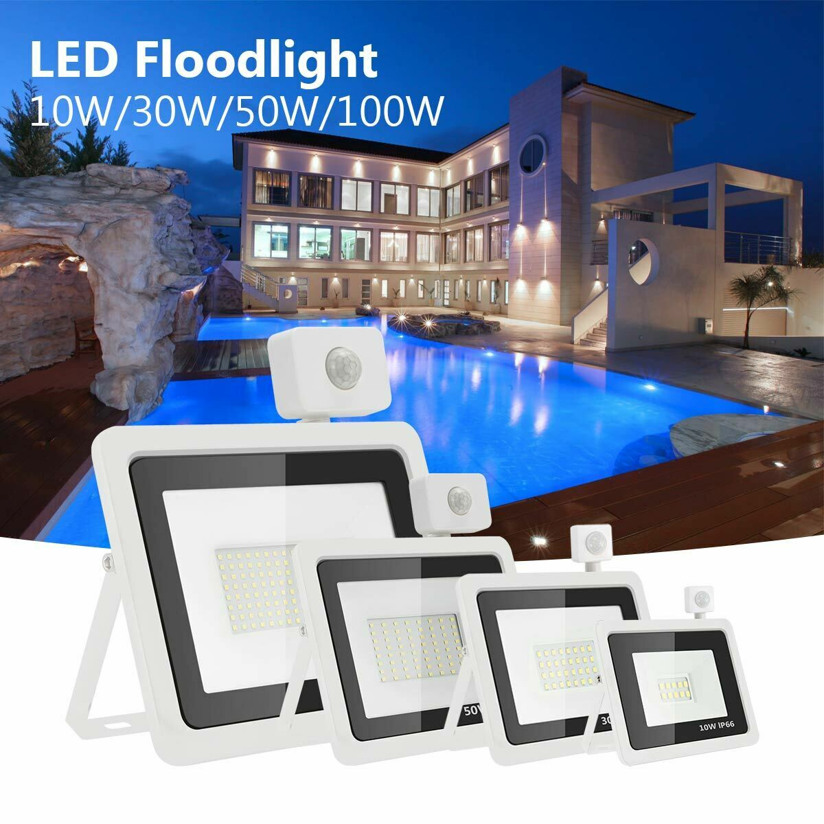 RGBW LED Flutlicht Fluter Strahler SMD Außen Scheinwerfer 10W 20W 30W 50W 100W